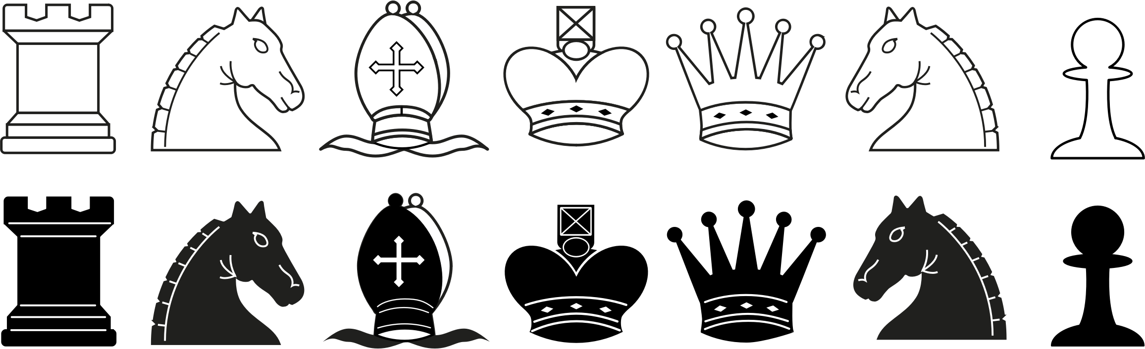 Pieces. Chess clipart line