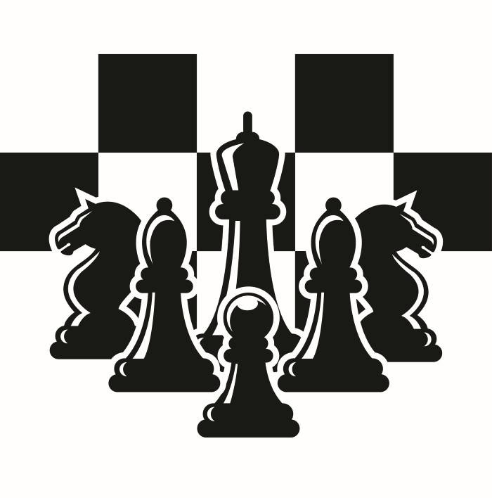 Logo chessboard pieces setup. Chess clipart strategy
