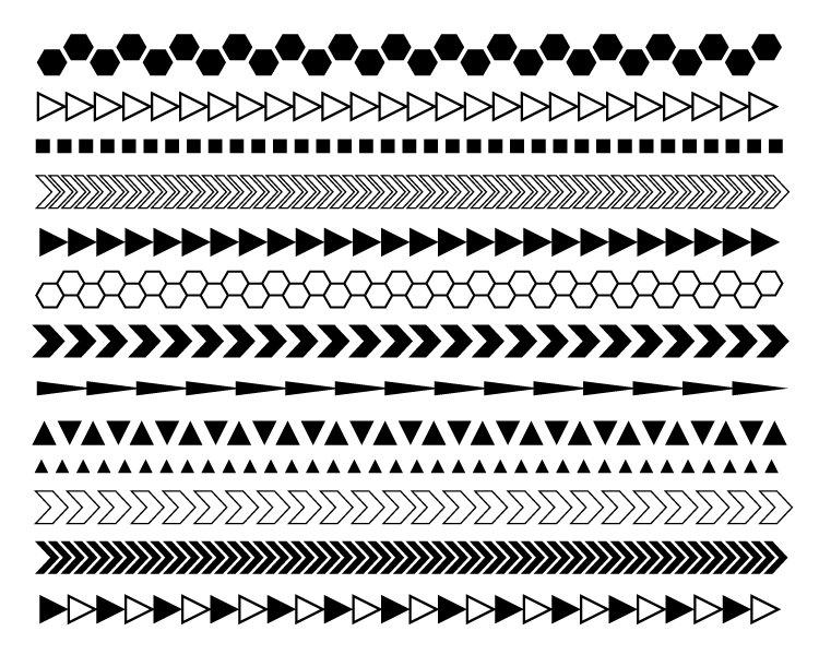 Geometric digital borders modern. Chevron clipart black and white
