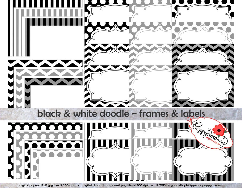 Chevron clipart black and white. Doodle frames labels clip