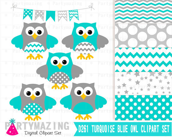 Owl turquoise and gray. Chevron clipart cute