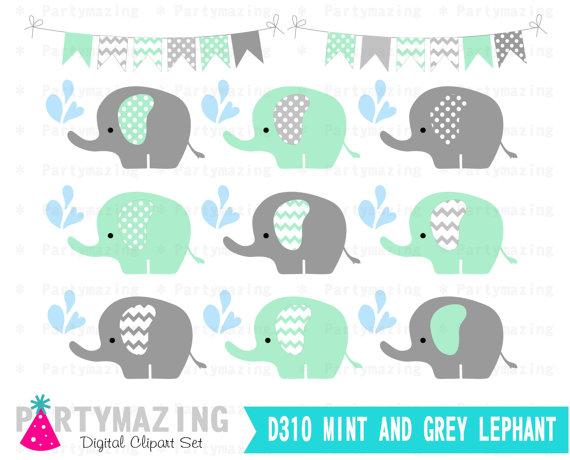 Mint and gray clip. Chevron clipart elephant