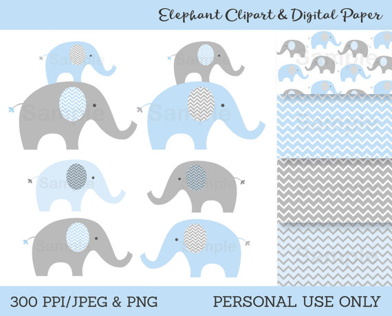 Blue grey elephants pattern. Chevron clipart elephant