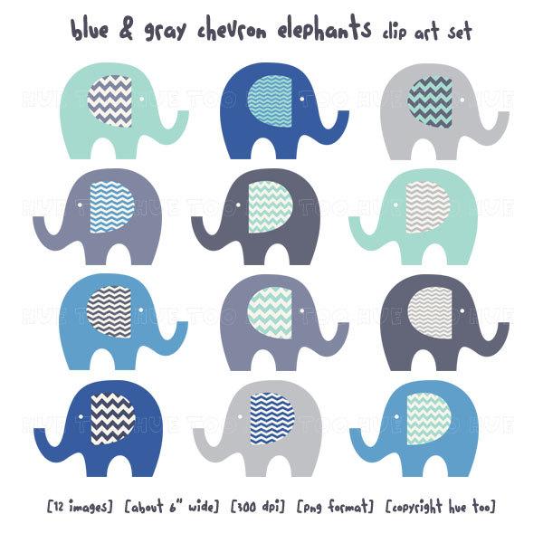 Blue . Chevron clipart elephant
