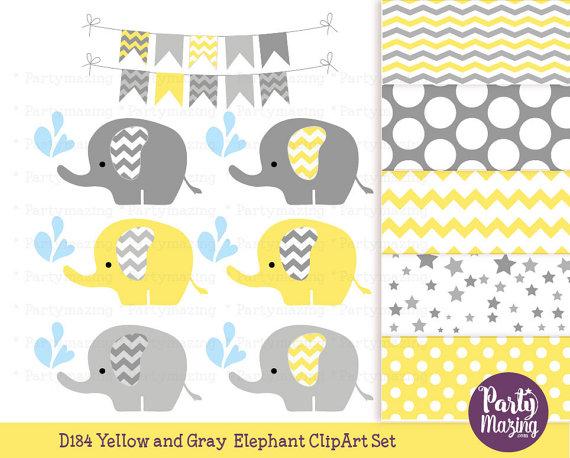 Yellow baby set grey. Chevron clipart elephant