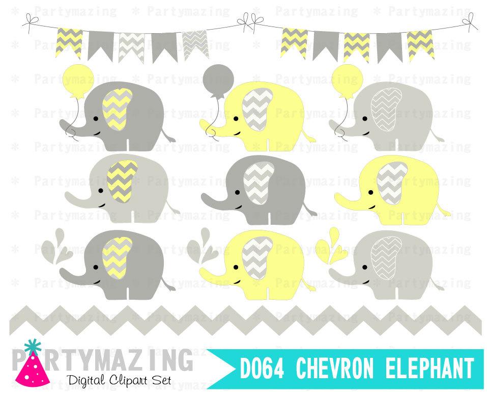 Chevron clipart elephant. Yellow baby set grey