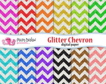 Chevron clipart rainbow. Glitter digital paper pack