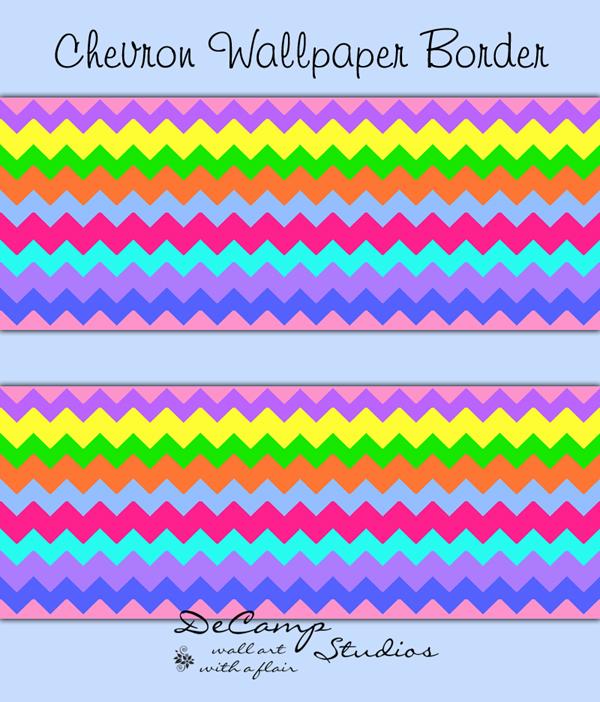 Multi colored wallpaper border. Chevron clipart rainbow