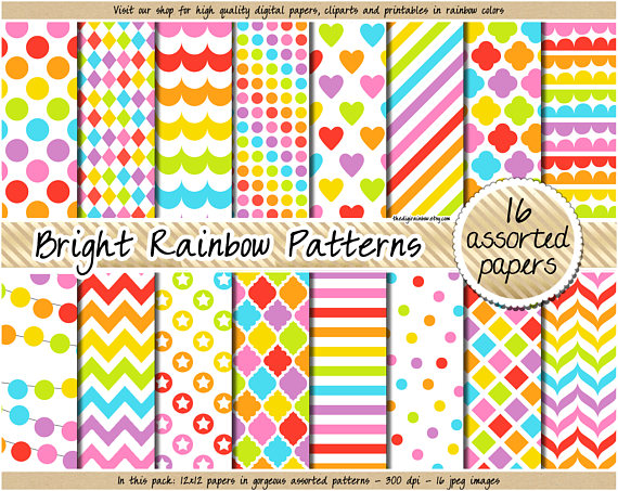 Chevron clipart rainbow. Sale digital paper bright