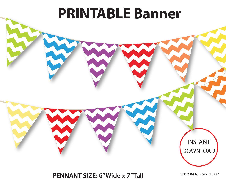Printable banner by betsyrainbow. Chevron clipart rainbow