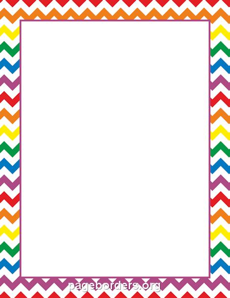 Border clip art page. Chevron clipart rainbow