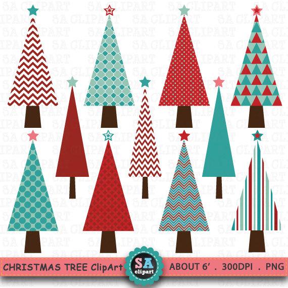 Christmas tree digital sale. Chevron clipart simple