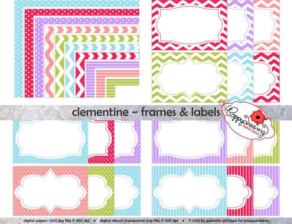 Chevron clipart stripe. Clementine frames labels clip