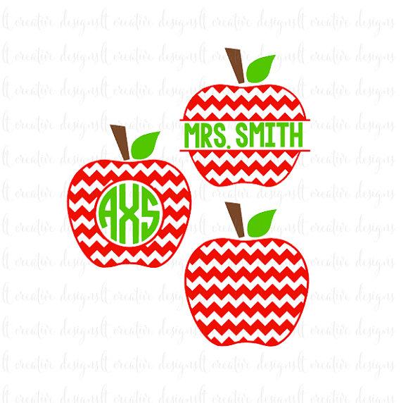 Apples clipart monogram. Chevron apple svg teacher