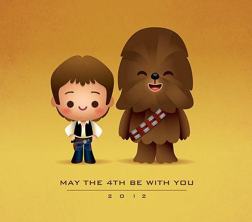 Kawaii han and chewie. Chewbacca clipart animated
