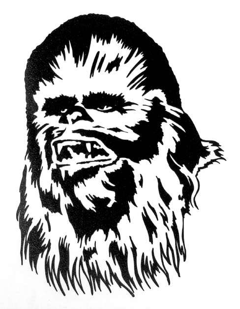 Chewbacca clipart black and white. Star wars vinyl window