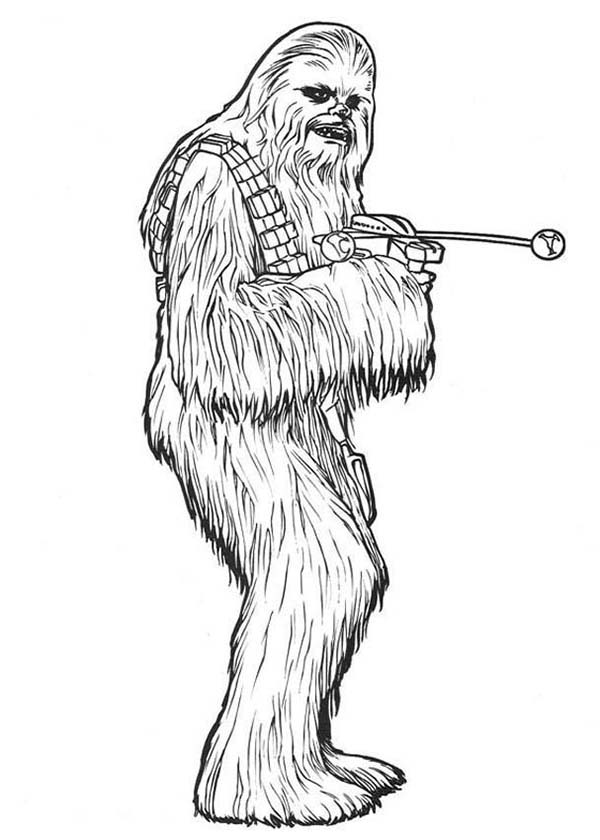Chewbacca clipart black and white. Coloring pages hellokids com