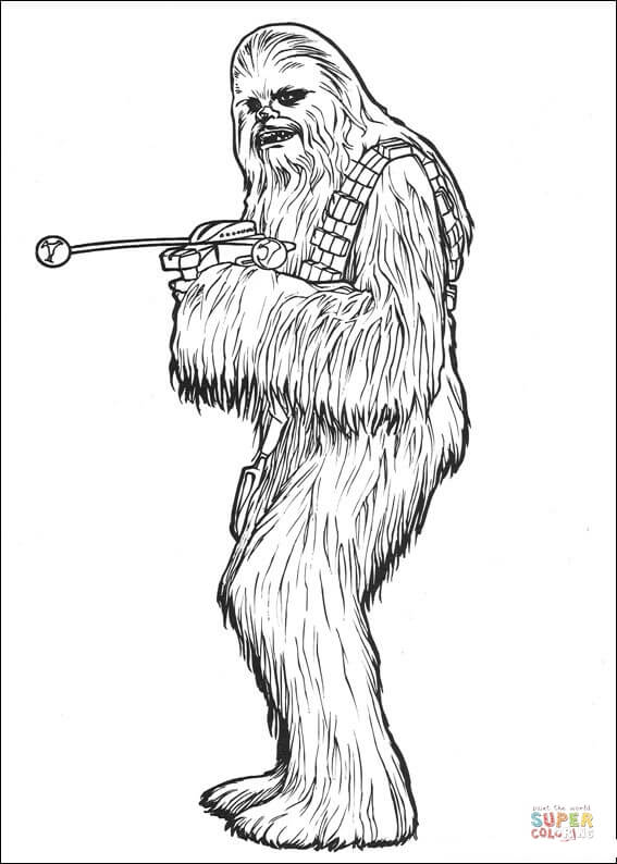 With bowcaster coloring page. Chewbacca clipart black and white