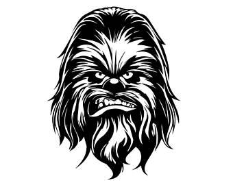 chewbacca clipart black and white