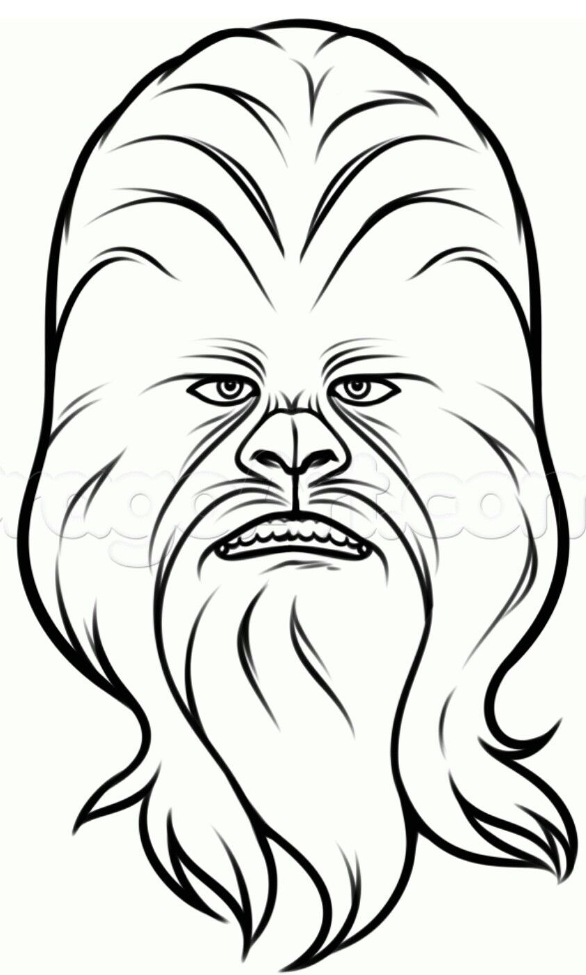 Chewbacca clipart black and white. Star wars tortas para