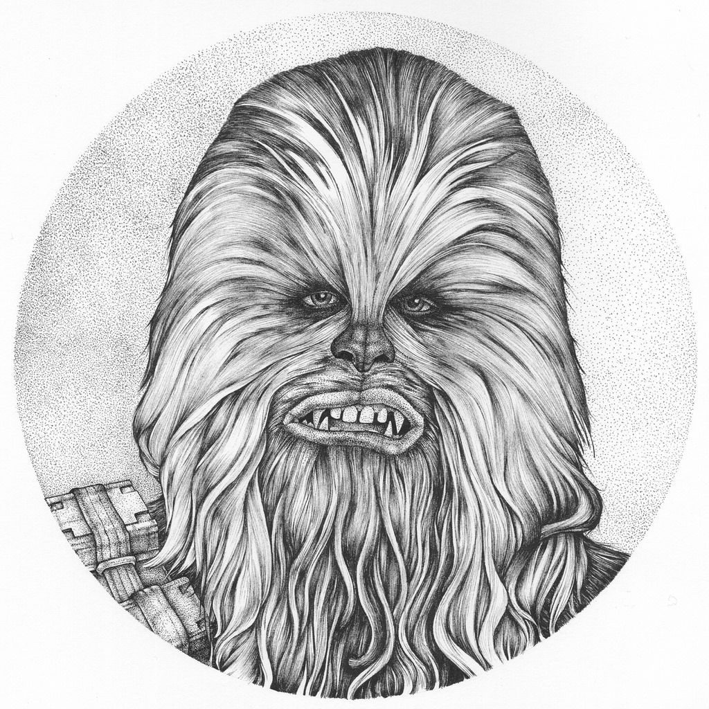Chewbacca clipart black and white. Drawing star wars drawings