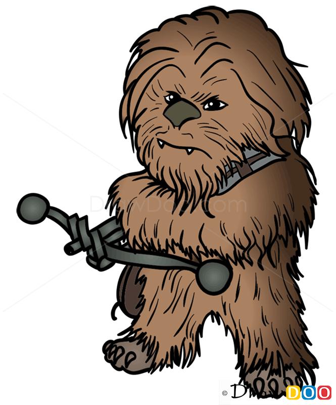 How to draw chewie. Chewbacca clipart chibi
