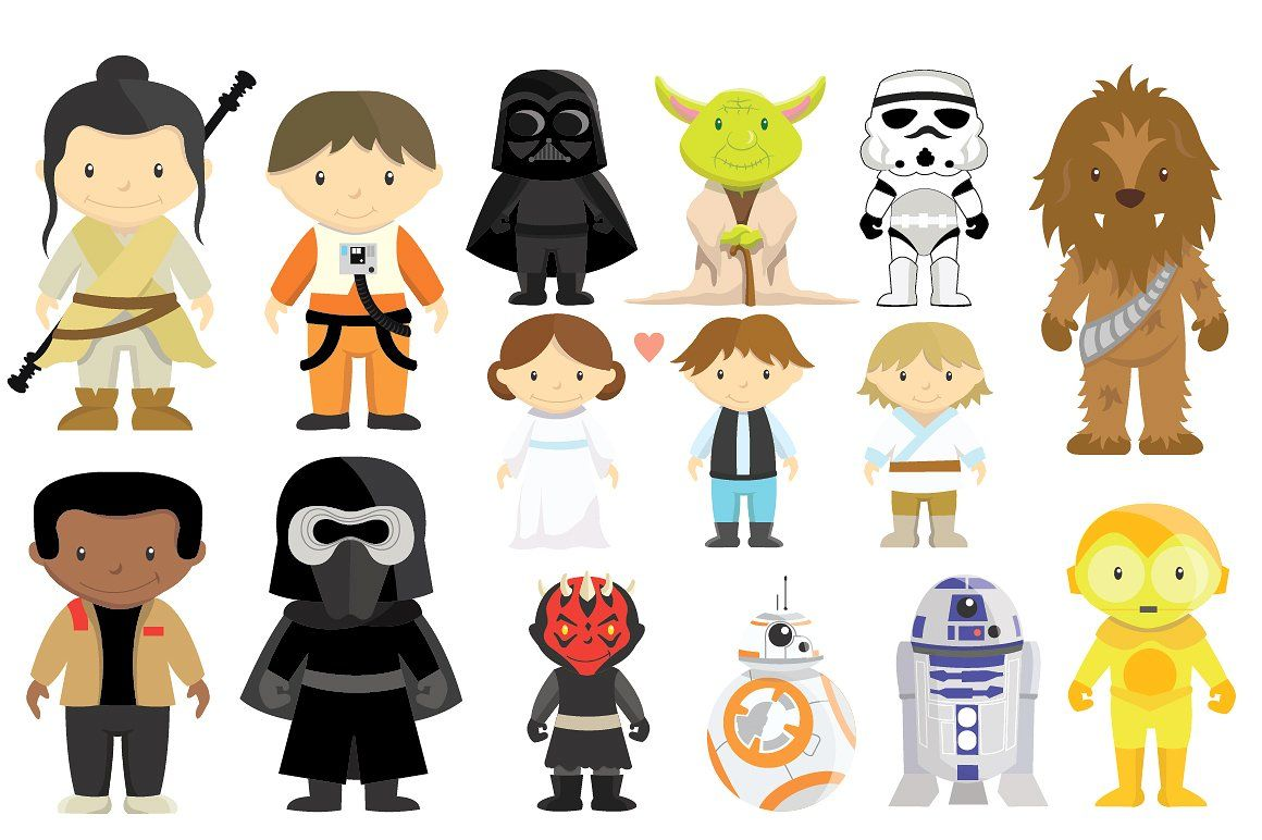 Star wars characters set. Chewbacca clipart clip art