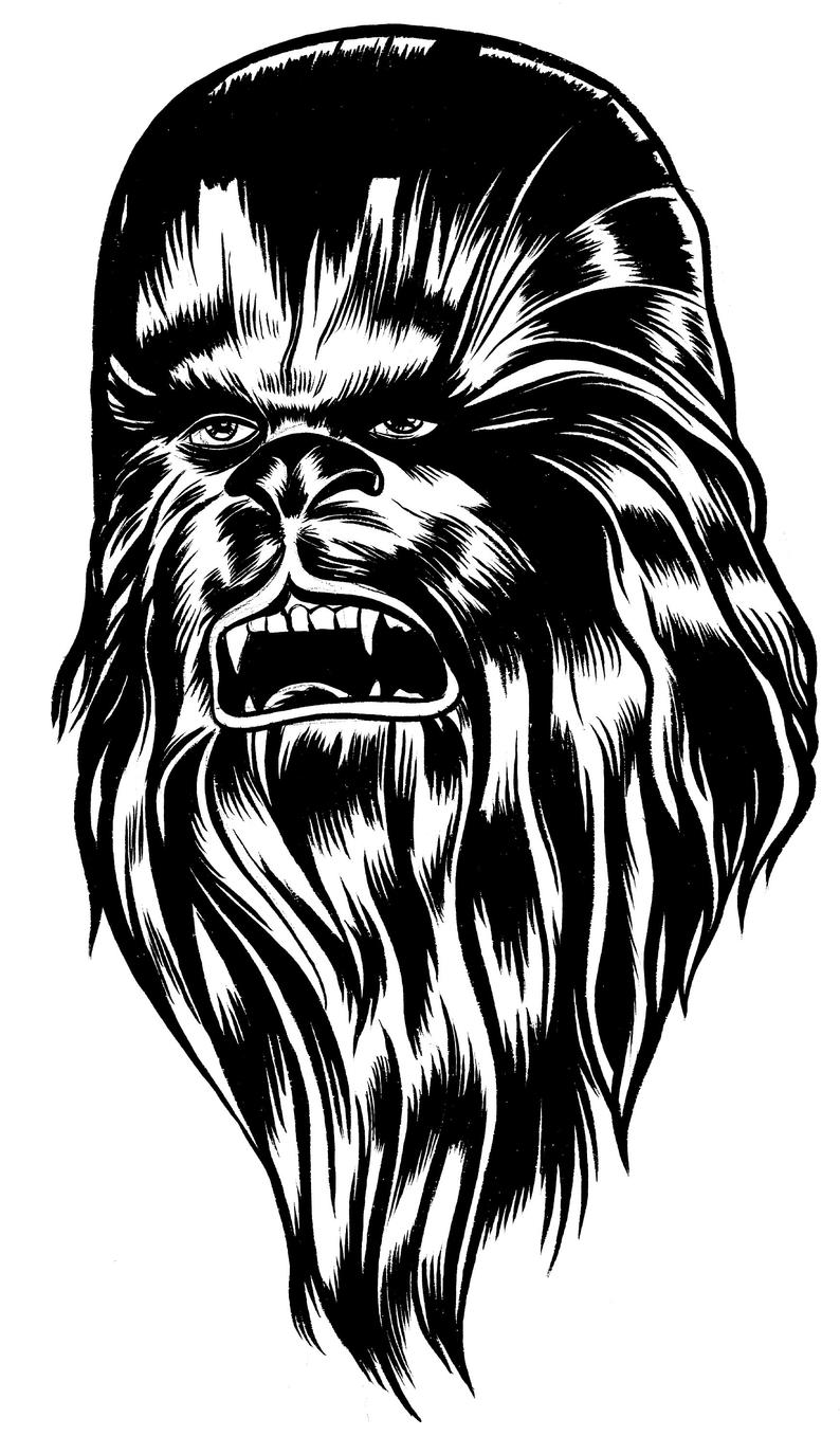 Chewbacca clipart drawing. Original pen and ink