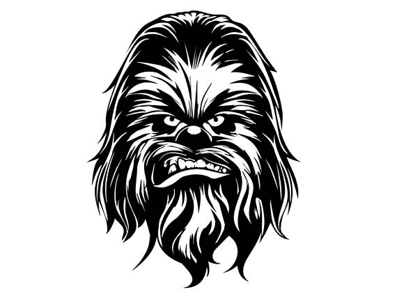 Star wars head description. Chewbacca clipart drawing
