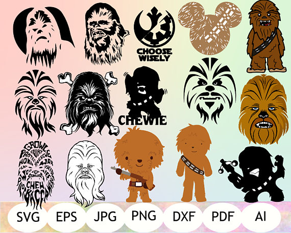 Chewbacca clipart file. Svg printable instant