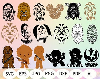 Silhouette etsy . Chewbacca clipart file