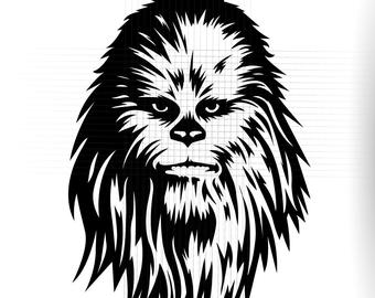 Chewbacca clipart head. Svg etsy