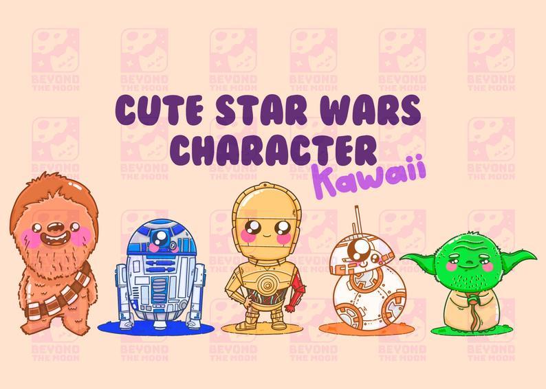 Cute star wars vector. Chewbacca clipart kawaii