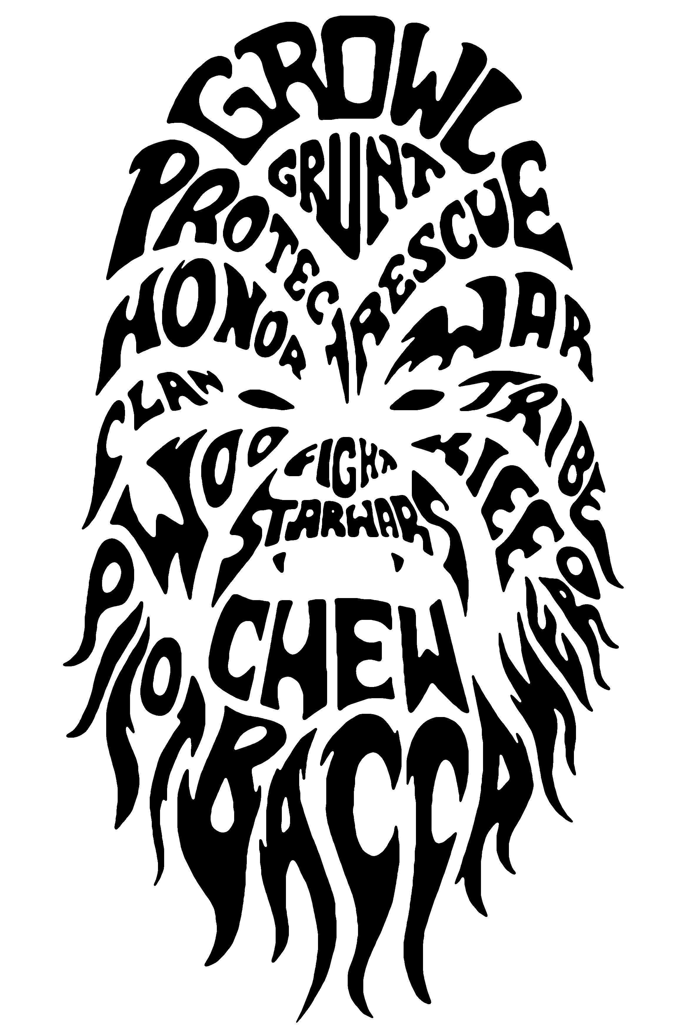 Chewbacca clipart outline. Star wars typography personalized