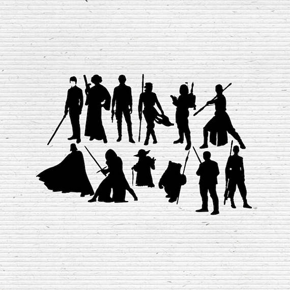 Chewbacca clipart silhouette. Star wars characters and
