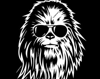 Chewbacca clipart silhouette. Etsy