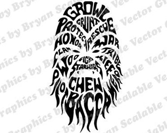 Vector etsy dxfpngsvgepssilhouette filesscan. Chewbacca clipart svg