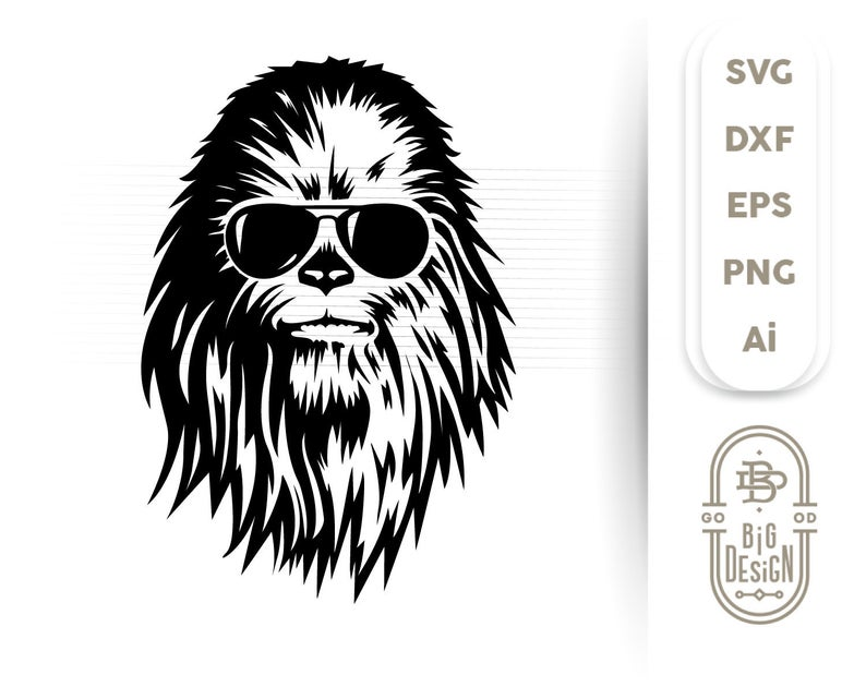 With sunglasses star wars. Chewbacca clipart svg