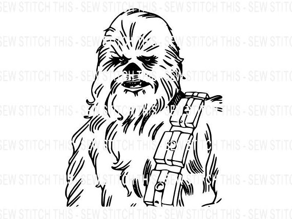 Chewy silhouette decals star. Chewbacca clipart svg