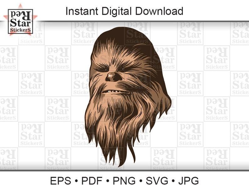 Chewbacca clipart vector. Star wars illustration digital