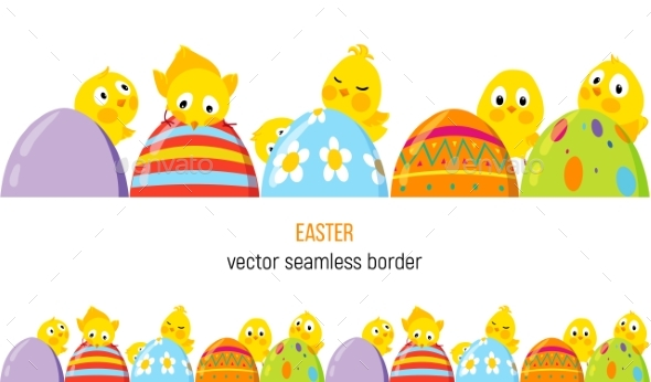 Easter vector with chicks. Chick clipart border
