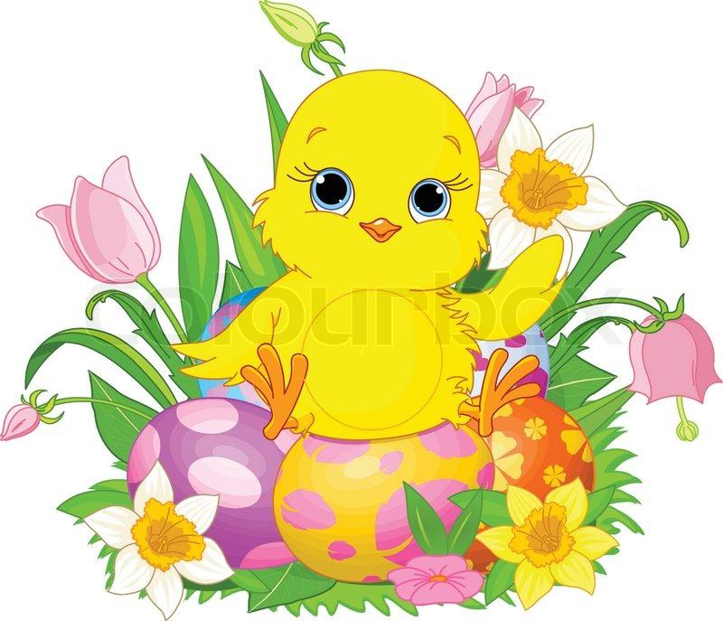 Chick clipart easter egg. Illustration of newborn sitting