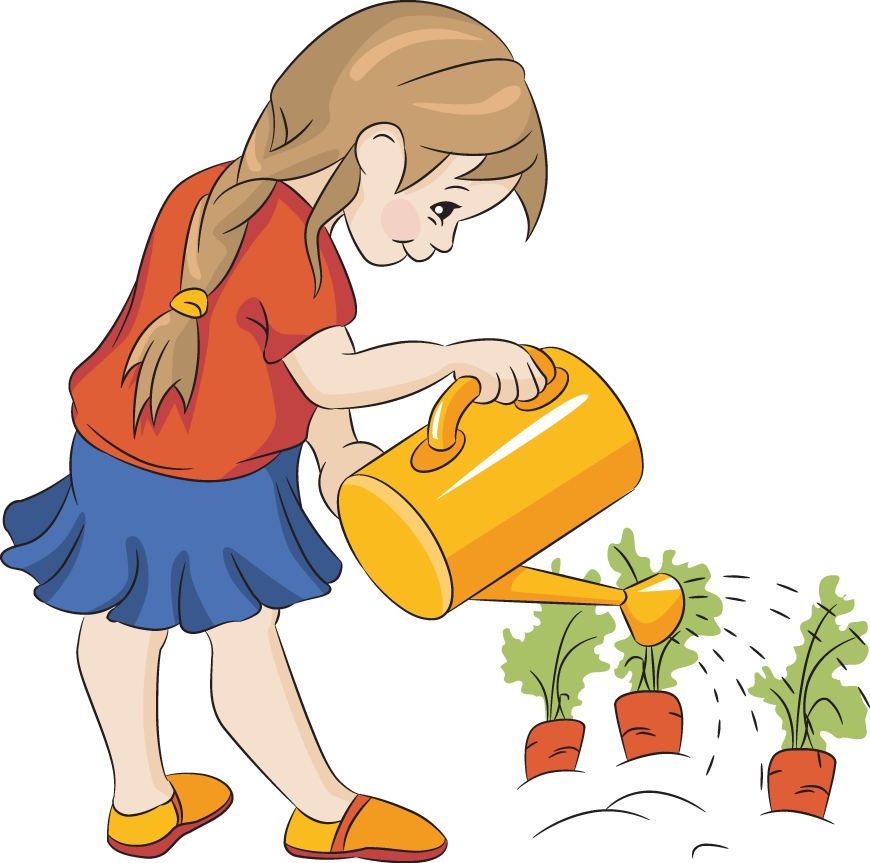 Watering flowers clip art. Gardening clipart groundskeeper