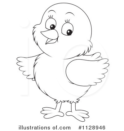 Chick clipart line drawing. Illustration by alex bannykh