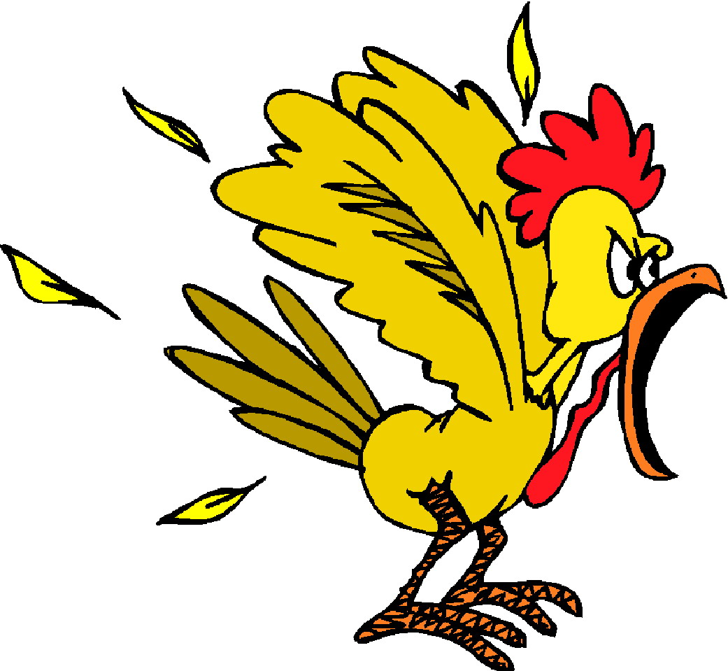 Yell and tell child. Hen clipart angry