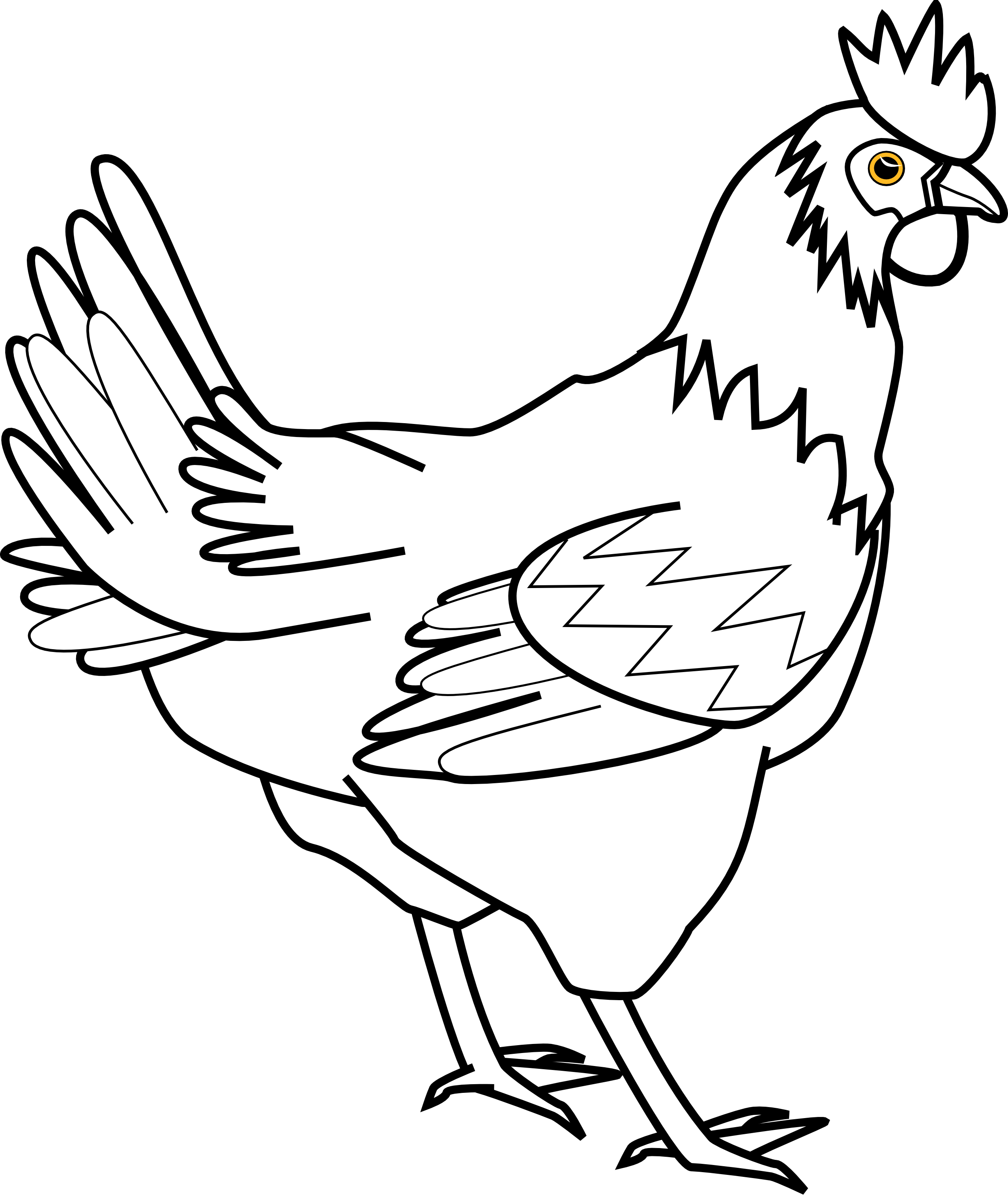 Rooster black and white. Fox clipart chicken