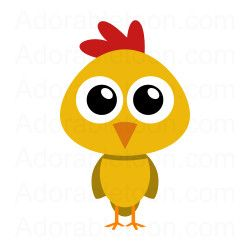 Cute chicken from adorabletoon. Chick clipart simple