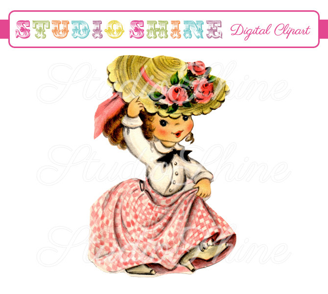 Digital playing dress up. Chick clipart vintage