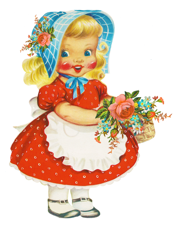 Chick clipart vintage. Girl