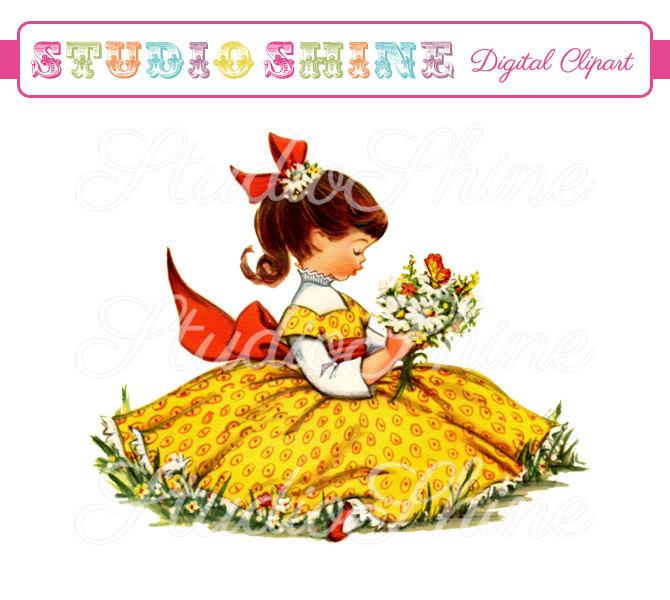Chick clipart vintage. Digital sunshine girl cute